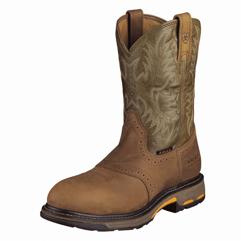 Ariat 10001191 Men's Workhog Pull-On Composite Toe Boot Aged Bark