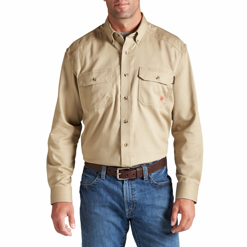 a818173141c Ariat 10012253 Men s Flame Resistant Solid Work Shirt Khaki - 10012251