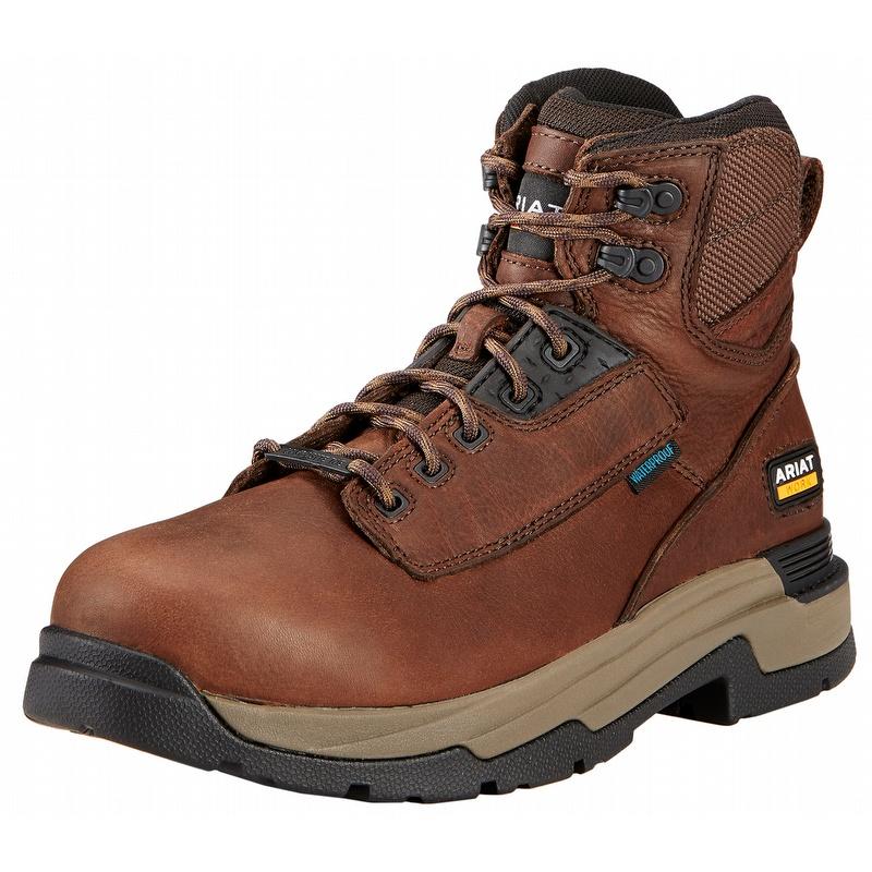 b6630a9c9ea Ariat 10017424 MasterGrip 6-inch H2O Composite Toe Work Boot Briar Brown