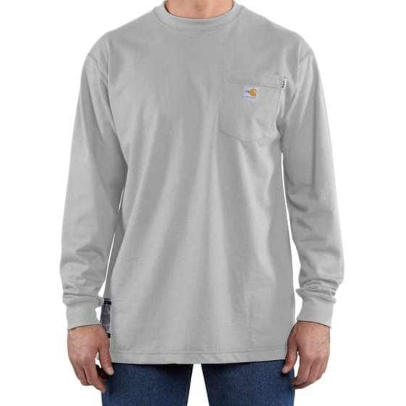 885a37621315 Carhartt 100235051 Flame Resistant Force Cotton LongSleeve TShirt Grey