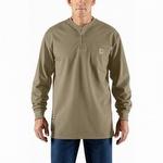 Carhartt 100237 Flame-Resistant Cotton Long-Sleeve Henley Khaki