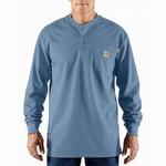 Carhartt 100237 Flame-Resistant Cotton Long-Sleeve Henley Medium Blue
