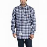 Carhartt 101028 Flame-Resistant Classic Plaid Shirt Navy
