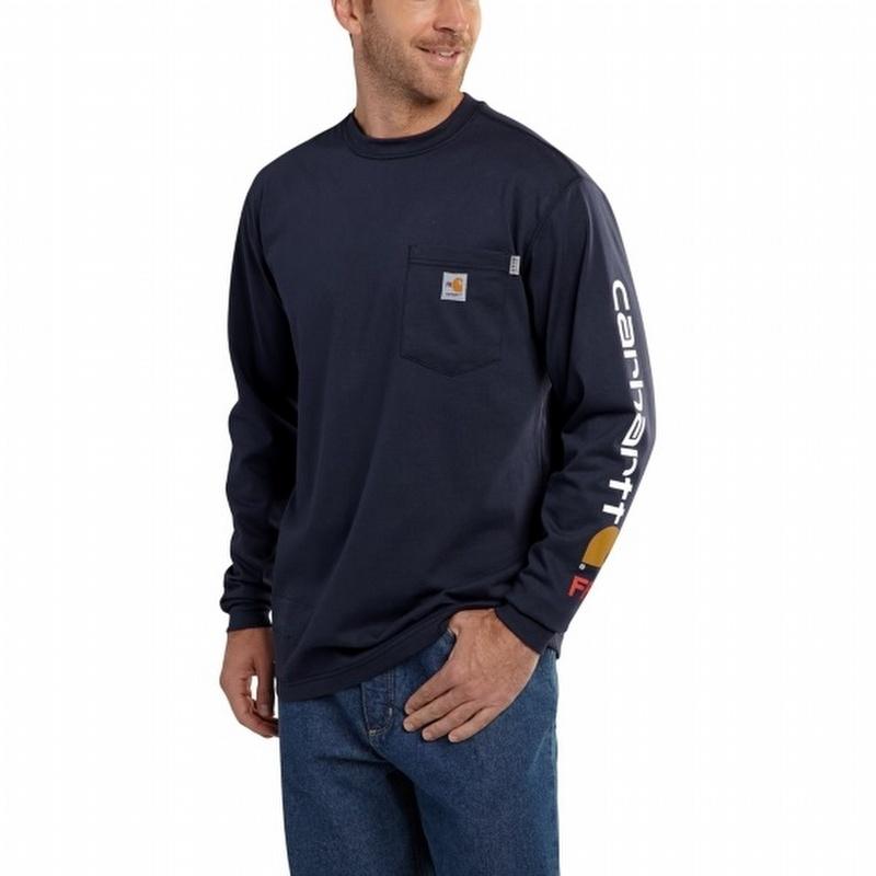 4882caf50 Carhartt 101153 FR Force Cotton Graphic Long-Sleeve T-Shirt Dark Navy