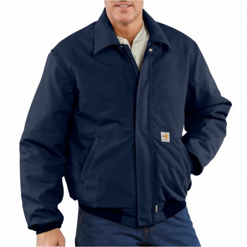 b44b74db998e Carhartt 101623 Flame-Resistant Duck Quilt-Lined Navy Bomber Jacket -  101623410