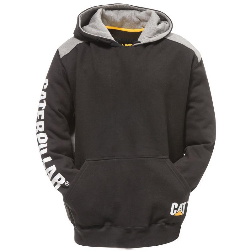 970ee963547 Caterpillar CAT 1910802 Logo Panel Hooded Sweatshirt Black - 1910802016
