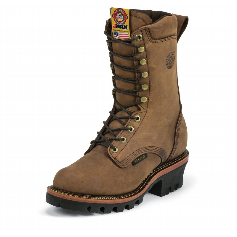 Justin J Max Boots 10 Inch Logger Boots Gearcor