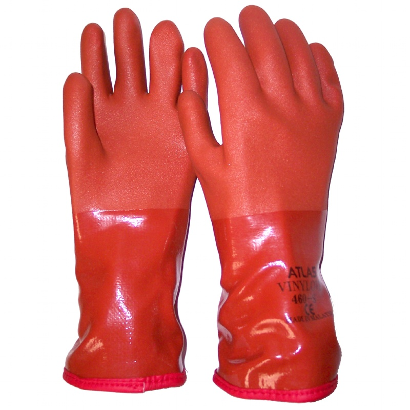 Pvc work gloves orange pvc gloves gearcor for Cold weather fishing gloves