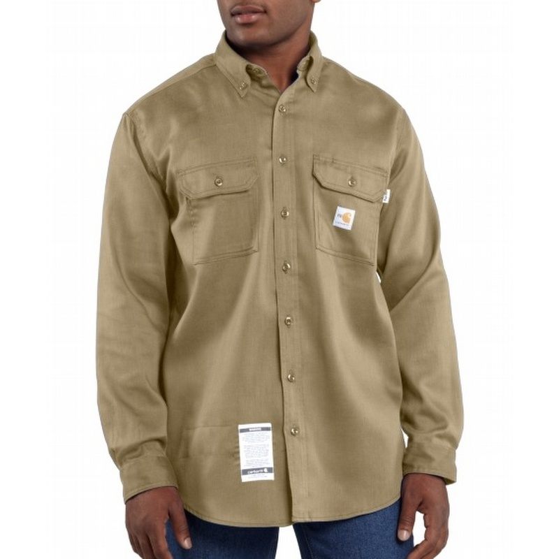 3eb4bf638800 Carhartt FRS003 Flame-Resistant Work-Dry Twill Shirt Khaki - FRS003KHI