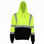 GSS Safety 7001 Class 3 Fleece Hooded Sweatshirt Lime w Black Bottom