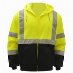 GSS Safety 7003 Class 3 Fleece Hooded Zip Sweatshirt Lime