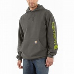 Carhartt K288 Midweight Signature Sleeve Hooded Sweatshirt Charcoal