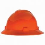 MSA Hi Vis Orange V Gard Non Slotted Hard Hat With FasTrac Suspension