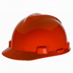 MSA Orange V-GARD Slotted Hard Hat