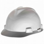 MSA Large White VGard Slotted Hard Cap With FasTrac Ratchet Suspension