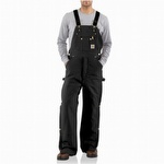 Carhartt R41 Quilt Lined Zip-to-Thigh Bib Overall Black