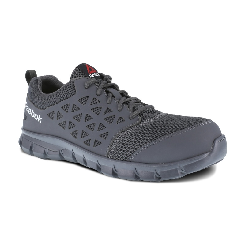 acc44371cca1 Reebock RB4038 Sublite Cushion Athletic Oxford Comp Toe Lace Up Gray