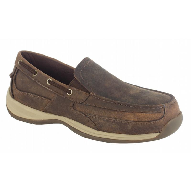 Rockport Works Men's Sailing Club Steel Toe Slip On Boat Shoes