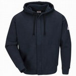 Bulwark FR Zip-Front Hooded Fleece Sweatshirt Navy