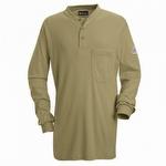 Bulwark Long Sleeve Tagless Khaki Henley Shirt