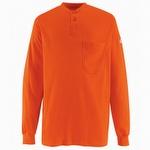 Bulwark Long Sleeve Tagless Orange Henley Shirt