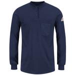 Bulwark Excel FR Long Sleeve Tagless Womens Henley Shirt Navy