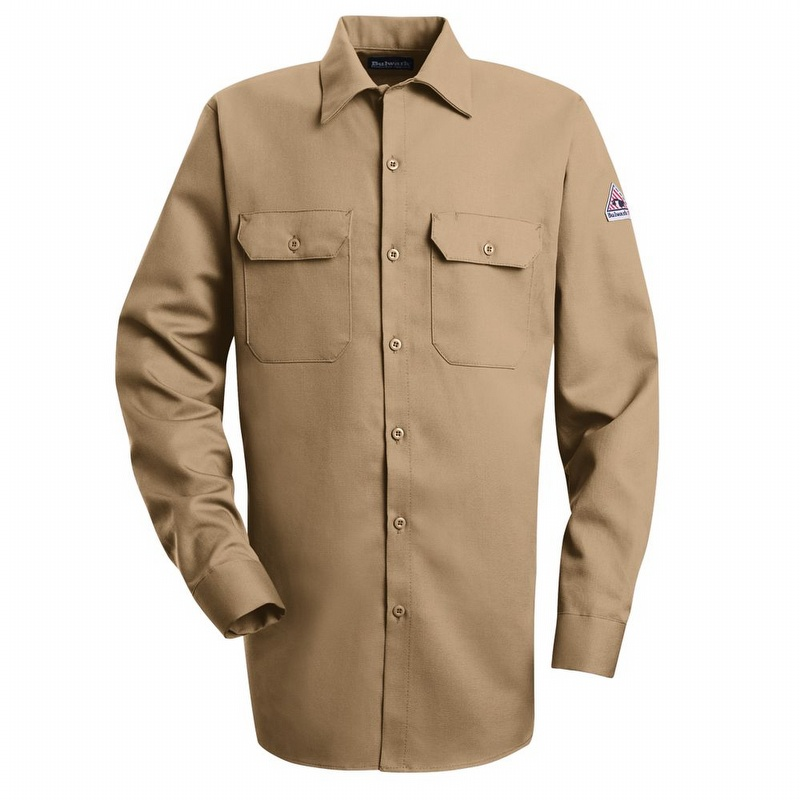Bulwark Size 2X Tall Khaki Cool Touch 2 Flame Resistant Shirt With Button Closure