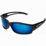 Kazbek Black Polarized Aqua Precision Blue Mirror Safety Glasses